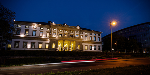 Stadtpalais Stuttgart at night with lichtgestalten
