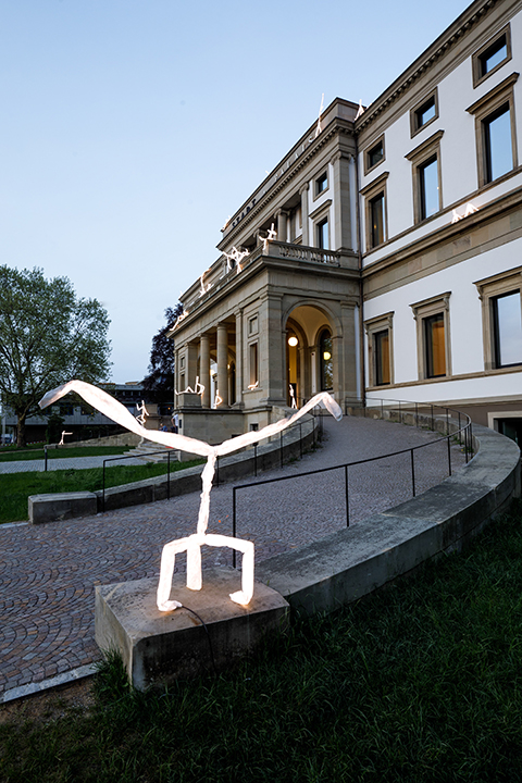 LED light sculpture breakdancing in front of Stadtpalais Stuttgart