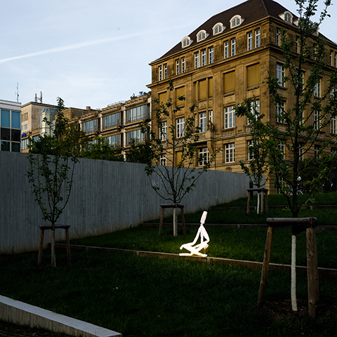 LED light sculpture meditating at the Stadtpalais Stuttgart