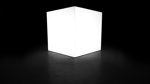 Full white projection on cube