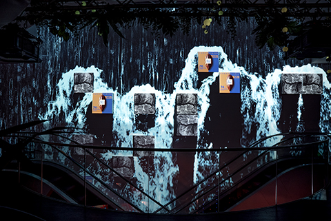 Waterfall projection mapping at Ritter Sport Store, Berlin