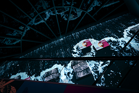 Ritter Sport Kakaoklasse release event with waterfall projection mapping