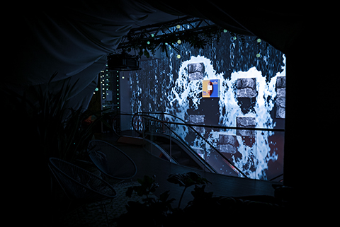Ritter Sport flagshipstore with waterfall video mapping